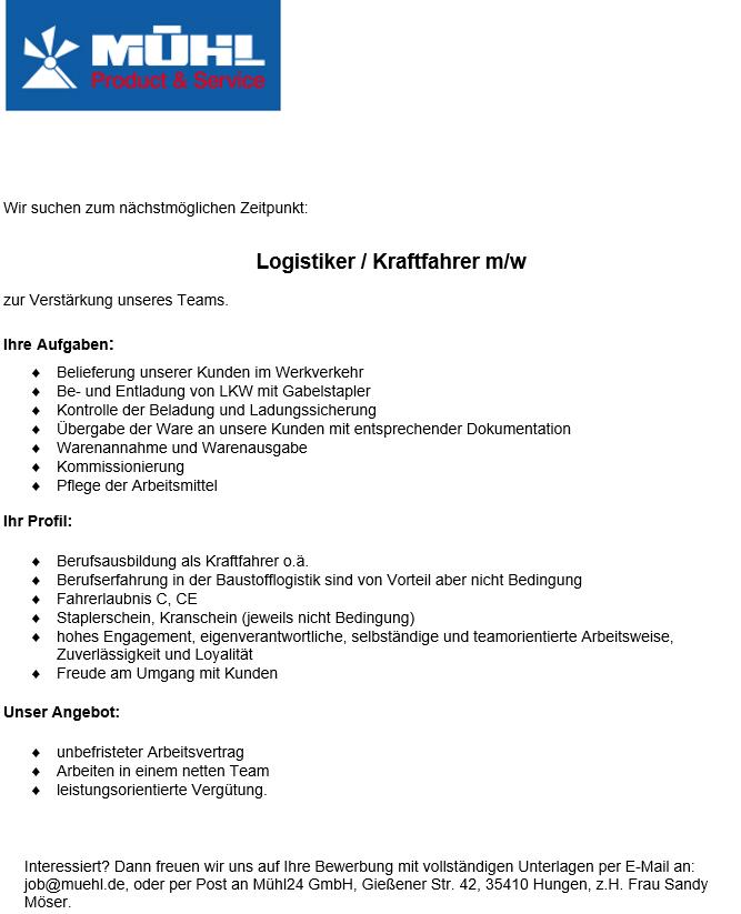 Jobs Offene Stellenangebote Mühl24 Baustoffe Bauelemente